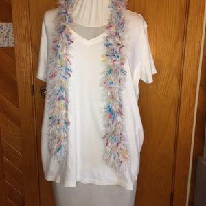 EDDIE BAUER white top with scarf Size XXL